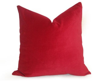 Decorative Cotton Velvet Pillow Cover - Red - Solid Red Pillow - Designer Pillow - Velvet Pillow - Red Pillow - Decorative Pillow - Red Velv
