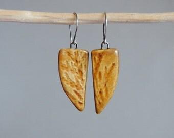 Ceramic earrings, Amber brown earrings, Geometric earrings, Leaf earrings, Dangle earrings, Ceramic jewelry, Natural jewelry, Ceramic art