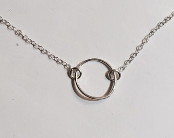 Sterling silver hand soldered dainty circle pendant