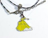 Yellow Belle Princess Charm Necklace - 18 inch necklace