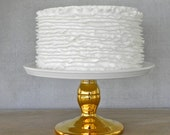 "Gold Cake Stand 10"" Wedding Cake Stand Cupcake Stand Gold Metallic Cake Topper Grooms Cake  Wedding Event Decor Vintage Wedding Decoration"