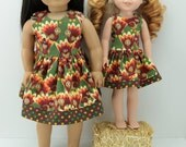 """18"""" and 14.5"""" Doll Thanksgiving Dress - Matching AG Dress - 18"""" American and 14.5"""" Wellie Doll Dress - Thanksgiving Dress for Wishers Doll"""