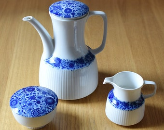 Vintage Lotus Coffee Set Bjorn Wiinblad Rosenthal Studio Line Blue White Benares