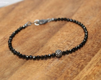Black Spinel Pave Diamond Ball Bracelet, Genuine Diamonds, Oxidized Sterling Silver, Black Spinel Jewelry