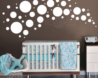 Wall decals 58 POLKA DOTS VARIOUS circles - Vinyl sticker home & nursey decor by Graphics Mesh