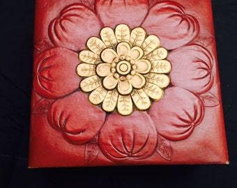 Art Nouveau Styled, Embossed Leatherette Box, Maroon And Gold, Smith Crafted Chicago, Trinket Or Keepsake Storage Box