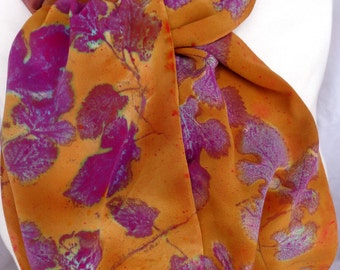 silk scarf hand painted Purple Gold Mulberry Leaves unique wearable art women fashion accessory long