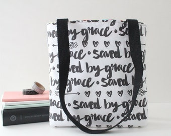 saved by grace hand lettered bible bag