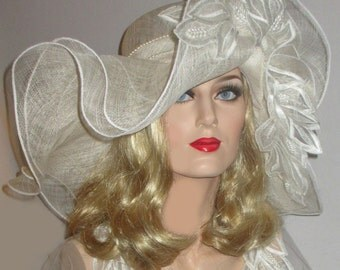 SOUTHERN COMFORT Derby Hat- Off White Extra Wide Brim Hat, Ivory Sinamay Kentucky Derby Hat, Ivory Lace & Pearls Hat, Wedding,Tea Party Hat