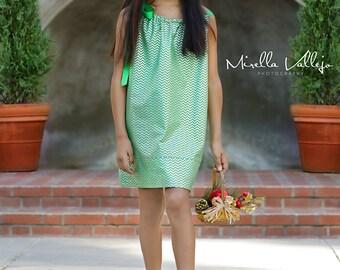 Girls Metallic Silver and Green Party Dress - Emerald Green & Silver Chevron Stripe Pillowcase Dress - Size 12m, 18m, 2T, 3T, 4, 5, 6, 8, 10