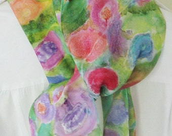 Hand painted silk scarf floral  pink , orange, blue green shades 8x54 Canadian design
