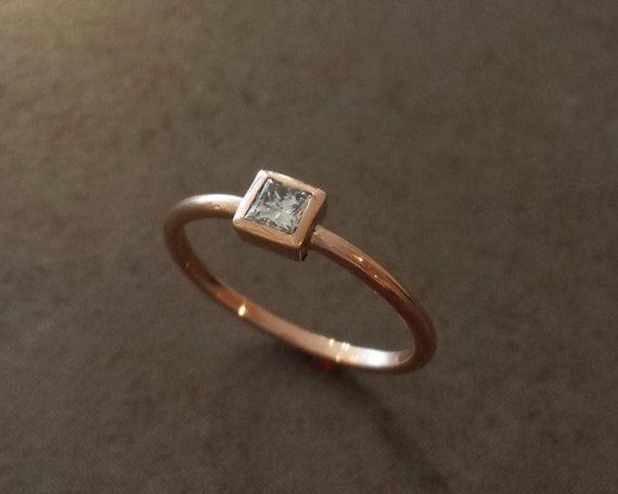 Simple Princess Diamond Engagement Ring - Rose Gold - Minimalist - Small Diamond
