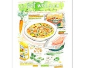 Get well soon ! Spicy chicken noodle soup, Illustrated recipe, Kitchen print, Watercolor print, Recipe painting, Quote art print Food poster
