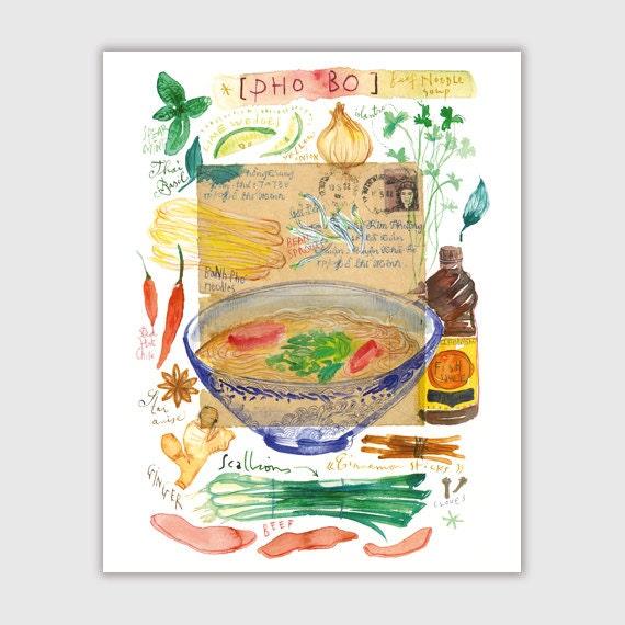 Vietnamese Pho Watercolor Print Kitchen Art Pho By