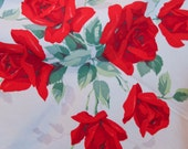 Vintage Red Roses Tablecloth, 1950s Linen Red and White Tablecloth, Shabby Chic Home Decor, Willendur USA, Valenitnes Day Tea Table, Elegant