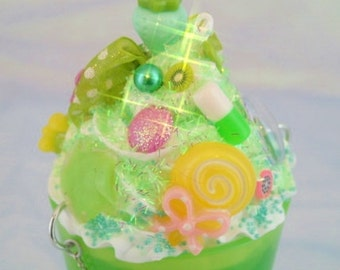 Dreamshake Necklace Sour Apple Green Cyber Candy Decora Milkshake Fairy Kei Kawaii Pendant Deco Parfait Cyberpop Resin Sunue Whipped Cream