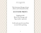 Custom Quote Print, literature, book lover, personalized gift, literary