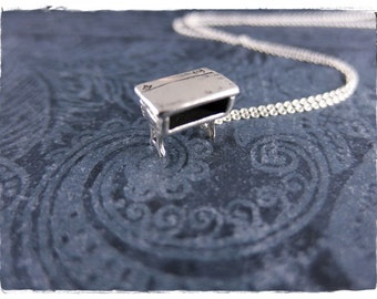Silver School Desk Necklace - Sterling Silver School Desk Charm on a Delicate Sterling Silver Cable Chain or Charm Only
