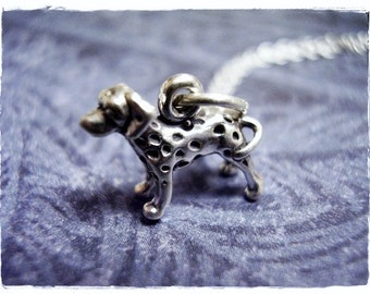 Tiny Dalmatian Dog Necklace - Sterling Silver Dalmatian Charm on a Delicate Sterling Silver Cable Chain or Charm Only