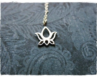 Silver Lotus Blossom Necklace - Sterling Silver Lotus Blossom Charm on a Delicate Sterling Silver Cable Chain or Charm Only
