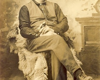 Handsome WESTERN MAN Enjoying His Pipe Photo Postcard circa 1910