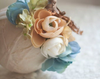 Peek-a-Birdie Headband - Rustic Neutrals with Removable Bird - Off White Stretch Knit Headband - Photography Prop