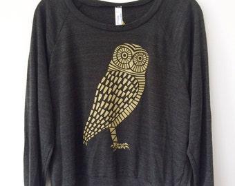 Women's Gold Owl Sweatshirt on Tri-Blend Black