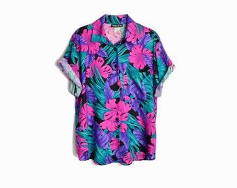 Vintage 80s Tropical Party Shirt / Pink & Purple Jungle Top - women's medium