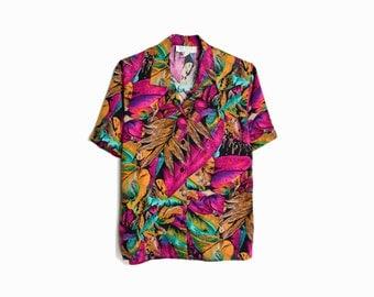 Vintage 80s Tropical Party Shirt / Floral Hawaiian Shirt - women's small