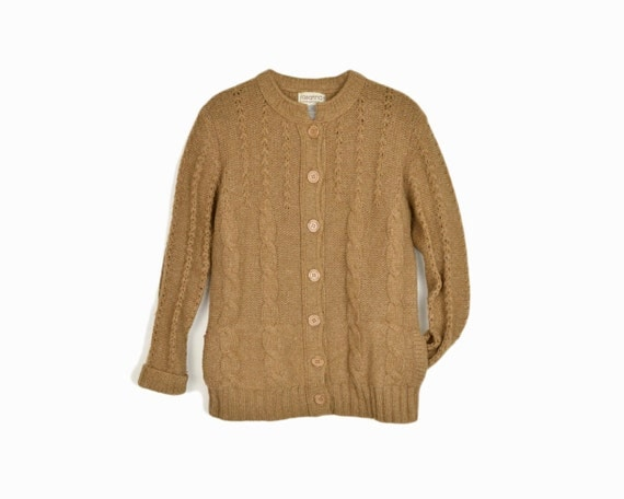 Vintage Cable Knit Cardigan Sweater in Camel Brown