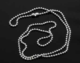 """22"""" Sterling silver chain - ball chain smooth round 2.2mm VCSB22X22R"""