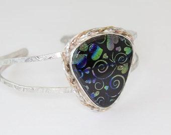 Black Silver Hearts Dichroic Cuff Bracelet