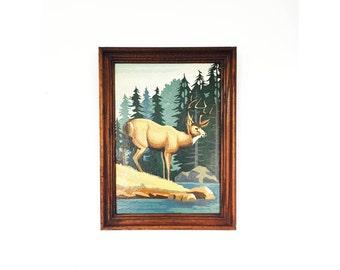 """Vintage Paint by Numbers Deer / 12"""" x 16"""""""