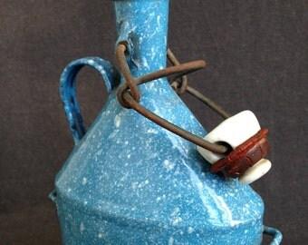 Mottled blue enamel vintage canteen