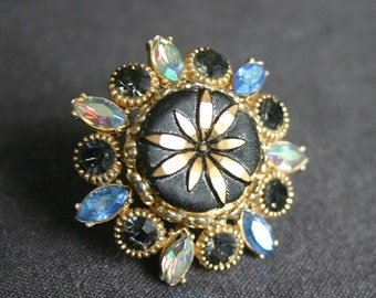 Stunning elegant black and blue antique brooch