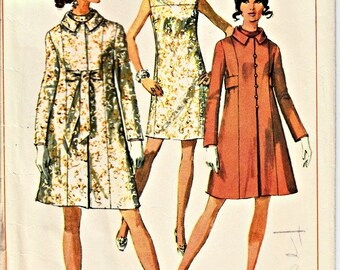 1960's Retro Coat and Dress Pattern SIMPLICITY 7975 1968 Vintage Sewing Pattern  Princess Seam Coat Sleeveless Shift  Bust 36