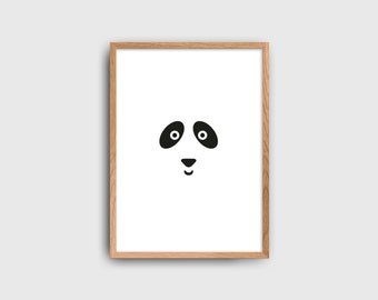 Panda Bear Kids Poster / Minimalist Kids Room / Kids Decor / Toddler Room / Children Poster / Minimal Nursery / Black and White Poster