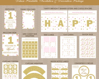 Pink and Gold 1st Birthday Printables Package 2, Pink & Gold Decorations, Polka Dots, Gold Glitter, Printable, Personalized for any age