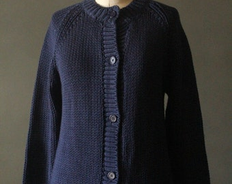 Vintage 80's Navy Blue Knit Button Up Cardigan Sweater by Robinson's of Southern California, size L