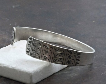 Unisex Sterling Silver Cuff Bracelet, Boho Silver Statement Bracelet, Hand Stamped Cuff Bracelet, Gift Bracelets for Men, Mens Jewelry