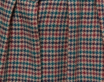 SALE -- vintage 80s maxi wool skirt full skirt pleated houndstooth khaki M L