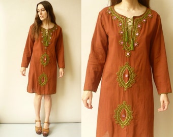 90's Vintage Indian Embroidered And Mirrorwork Dress/Tunic Size Medium