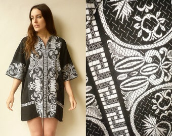 Vintage Hippie Greek Woven/Embroidered Mini Tunic Dress Size Large