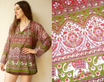 Vintage Indian Elephant & Paisley Print Cotton Gauze Smock Top One Size