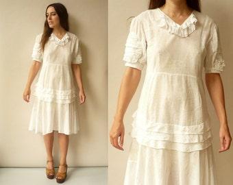 1920's / 1930's Vintage Antique White Cotton Semi Sheer Bohemian Lawn Dress Size Small