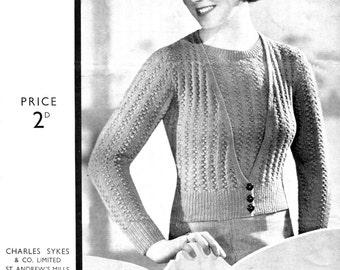 "1930s Ladies  Lace Rib Twin Set 34"" Bust Sentinel 487 Vintage Knitting Pattern Pdf Download"