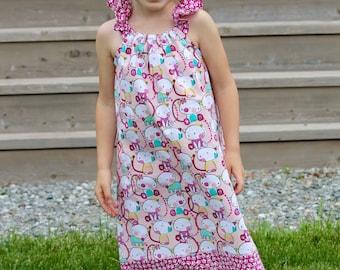 Pink Kitty Butterfly Flutter Angel Sleeve Girls Dress Size 4