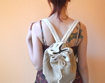 White Gold canvas bag fabric Backpack, Hippie boho cotton canvas travel Bag, beag bag