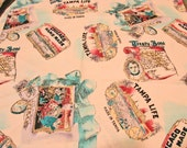 Vintage Fabric Sheryl Roy for SSI Novelty Print Fabric Cigar Labels