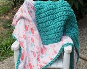 Vintage inspired baby girl blanket baby girl blanket crochet blanket flannel vintage inspired blanket double sided blanket
